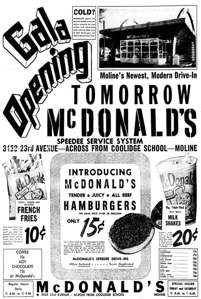 McDonalds, Moline, Illinois Ad, The Dispatch, February 3, 1958, page 12.