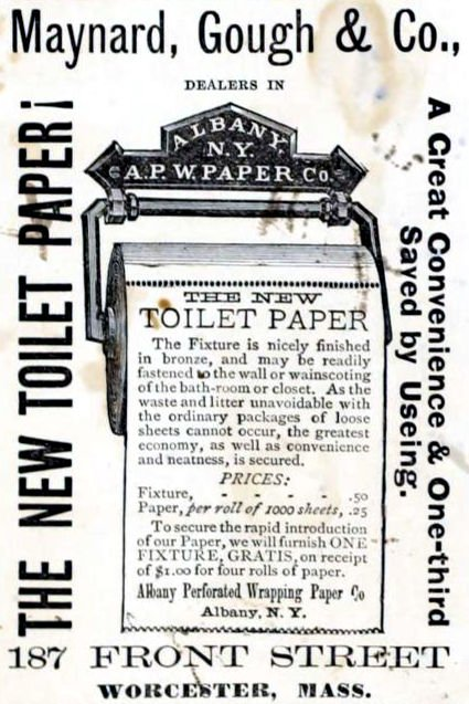 The first perforated toilet paper on a roll was invented by the Albany Perforated Wrapping Paper Co.