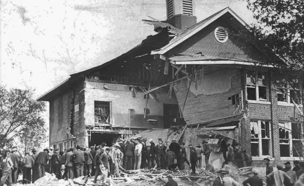 Bath School disaster showing the front of school.