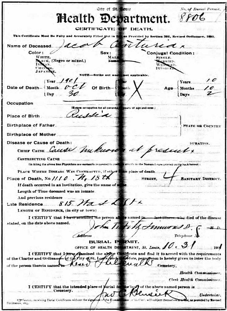 Jacob Centuria death certificate.
