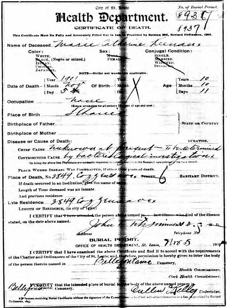 Marie (Mamie) Keenan Death Certificate.