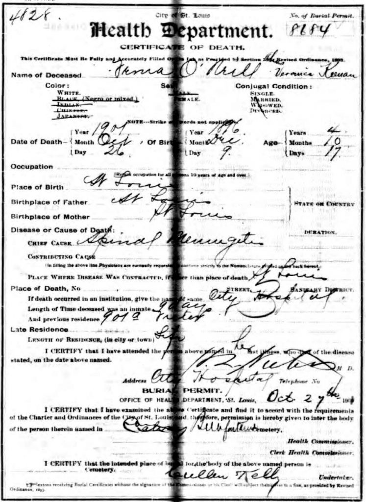 Veronica Keenan/Veronica O'Neill death certificate.