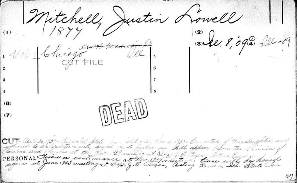 American Medical Association's Deceased Physician File for Dr. Justin L. Mitchell.