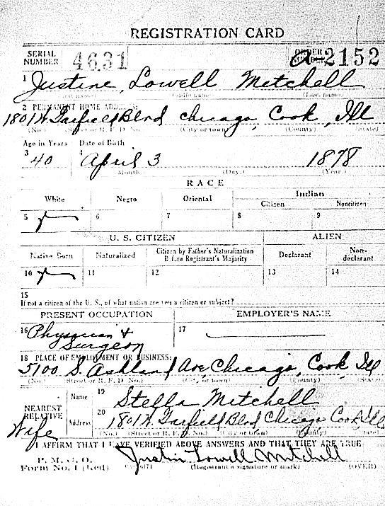 1918 World War I Registration Card for Dr. Justin L. Mitchell.