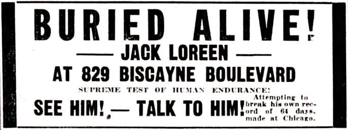 This advertisement for Jack Loreen appeared on page 12 of the February 13, 1934 issue of The Miami News.