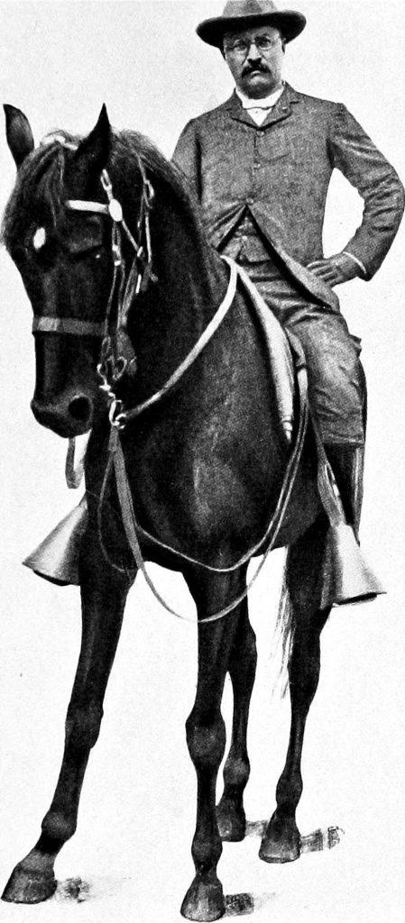 1901 image of Theodore Roosevelt on horseback.
