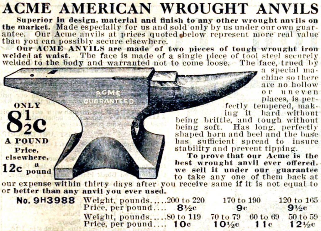 Acme Anvils, 1912 Sears, Roebuck and Company Catalog, No. 124, page 1073