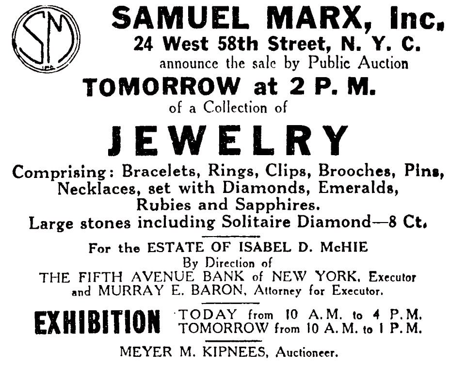 Advertisement for the sale of Isabel D. McHie's estate that appeared on page 12 of the November 13, 1939 issue of The New York Times.