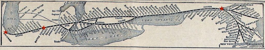 Grand Trunk Railway map. Chicago, Battle Creek, and Montreal have been highlighted with red stars.