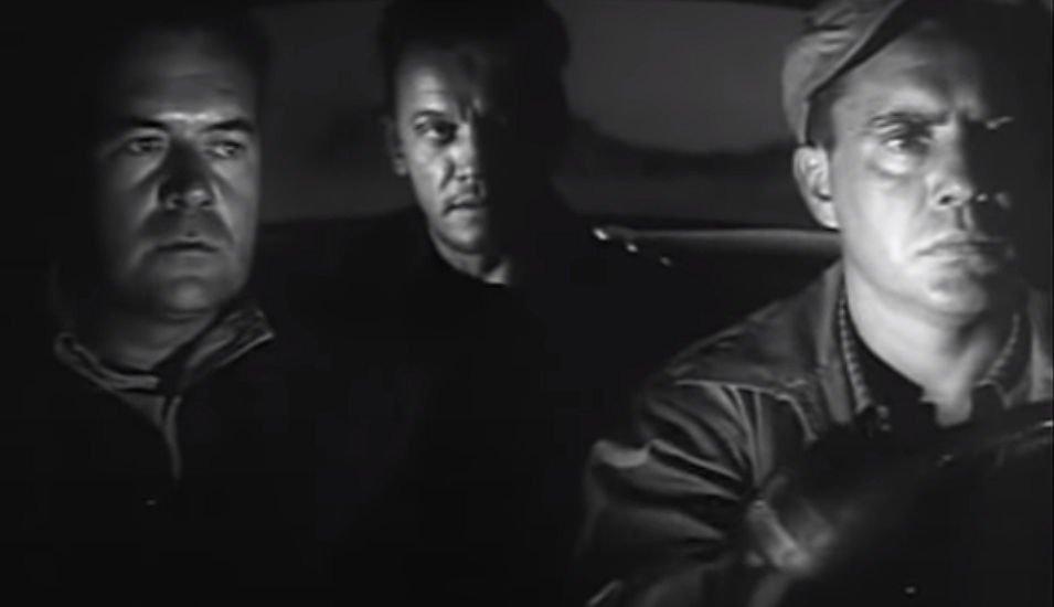 Gilbert Bowen (Frank Lovejoy), Emmett Myers (William Talman), and Roy Collins (Edmund O'Brien).
