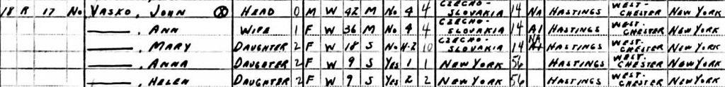 1940 Bridgeport, CT census listing for the Vasko family.