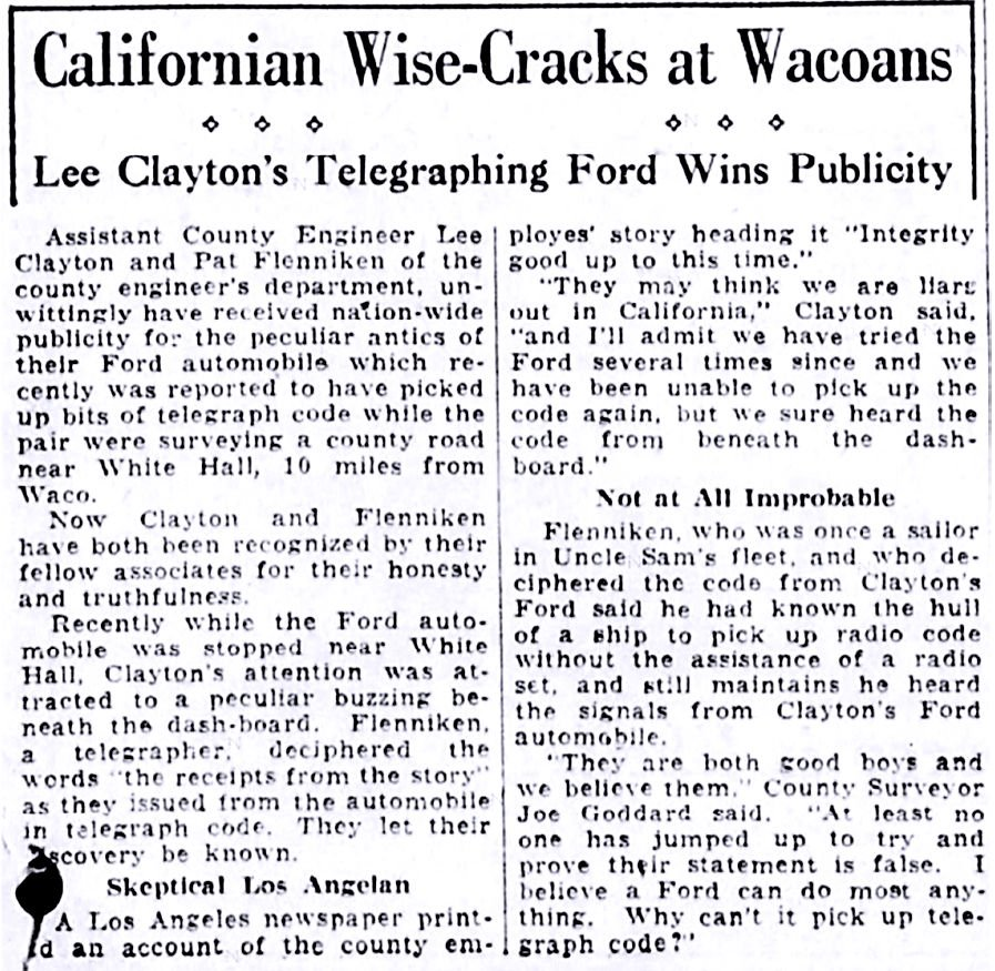 This story appeared on page 1 of the Waco News-Tribune on April 20, 1928.