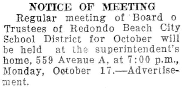 Advertisment that appeared on page 3 of the October 14, 1932 publication of the Redondo Reflex.
