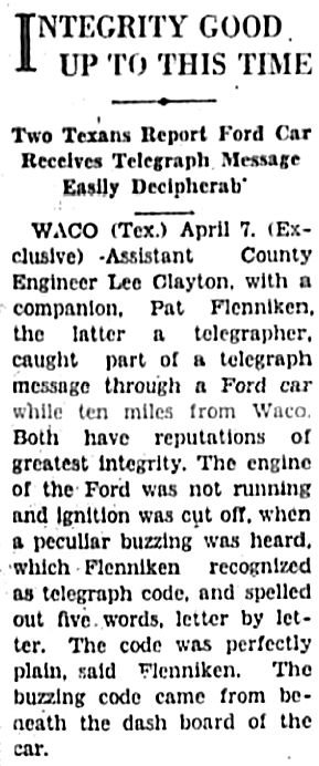 Two Texans Report Ford Car Receives Telegraph Message Easily Decipherable