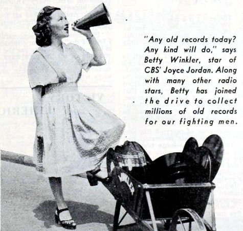 Betty Winkler, star of CBS' Joyce Jordan helping with the drive to collect old records.