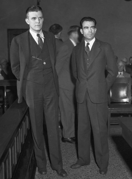 Elliott B. Thomas (right) with his attorney George Penney.