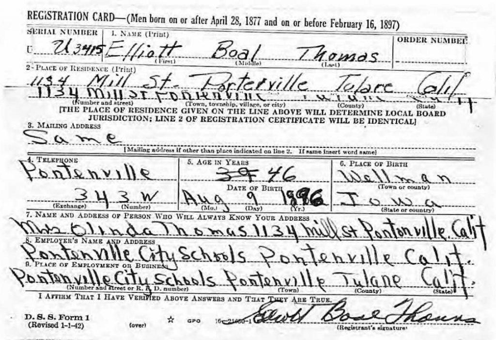 1942 World War II Draft Registration Card for Elliott Boal Thomas.