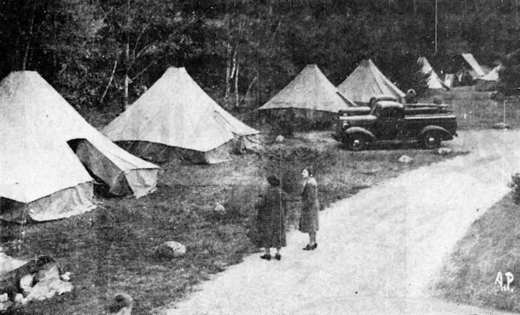 Army tents being set up to house the members of the search party.