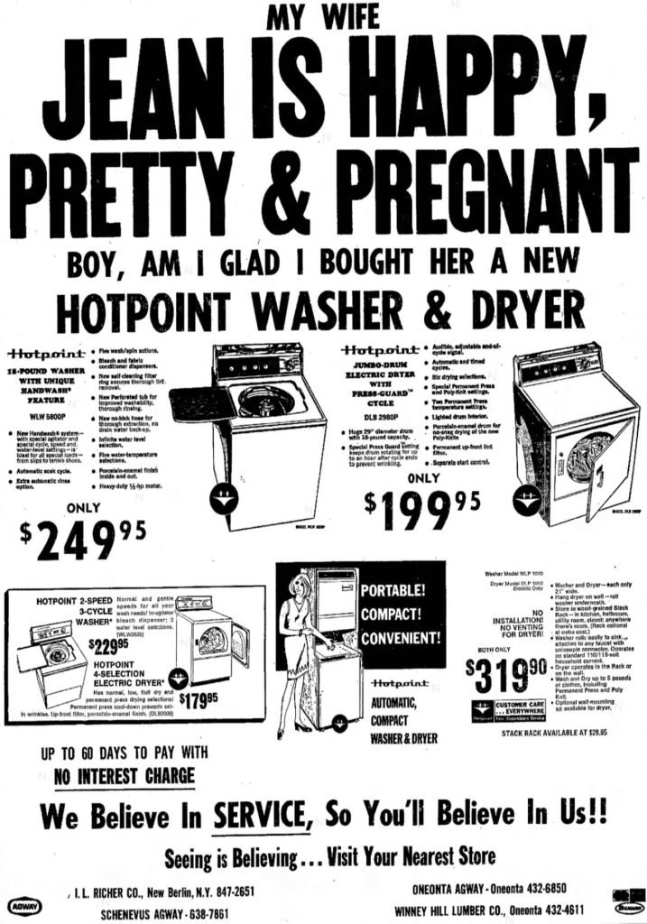 My Wife Jean is Happy, Pretty & Pregnant Ad, Oneonta Star, December 5, 1972, page 9.
