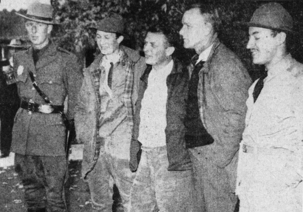 Joe Hollingworth with the men who rescued Pamela Hollingworth.