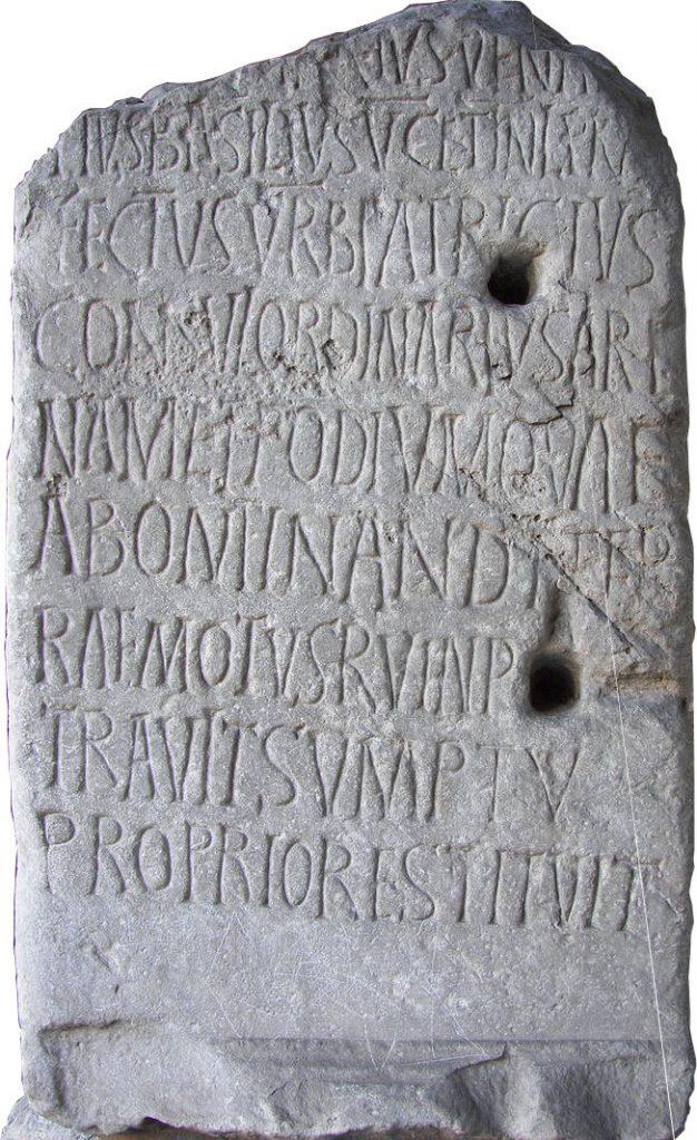 Inscription for 5th century Roman Consul Decius Marius Venantius Basilius in the Colosseum in Rome.