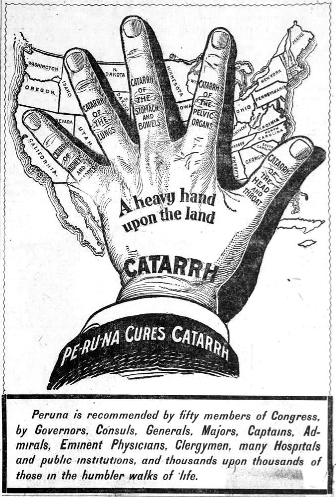 Peruna ad that appeared on page 18 of the January 4, 1903 publication of the San Francisco Call.