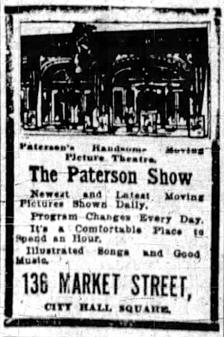 Advertisement for The Paterson Show that appeared on page 6 of the September 22, 1911, publication of the Paterson Evening News.