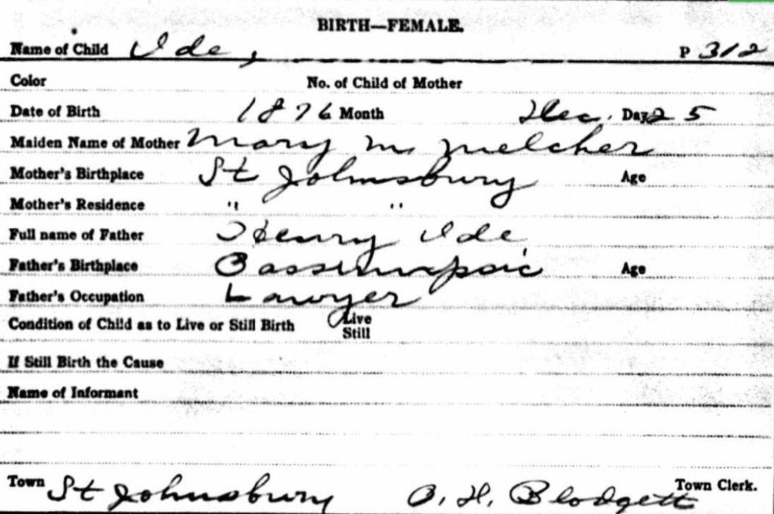 Annie Ide Birth Certificate