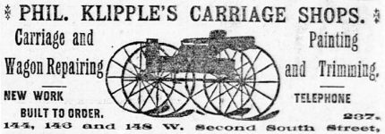 Phil Klipple's Carriage Shops, Salt Lake Herald, February 20, 1891, page 6.