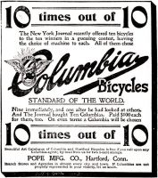 Columbia Bicycles by Pope Manufacturing, October 14, 1896, page 10.