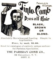 Parisian Tinto-Comb Hair Dye Ad, Black Cat Magazine, December 1899 page XXXIV.