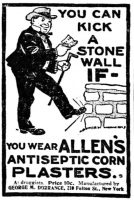Allen's Antiseptic Corn Plasters, Pittsburg Press, June 25, 1902, page 2.