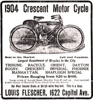 Crescent Motor Cycles, Omaha Daily Bee, April 3, 1904, page 13.