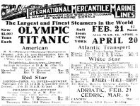 Titanic and Olympic Ad, Philadelphia Inquirer, February 8, 1912, page 9.