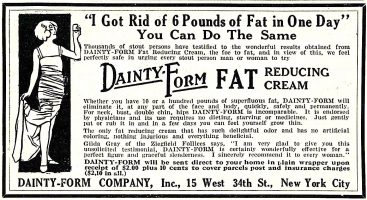 Dainty-Form Fat Reducing Cream Ad, Screenland, October 1923 10, page 100.