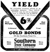 Southern Trust Company - 6% Gold Bonds, Louisville Courier-Journal, October 28, 1928, Section 5, page 29.