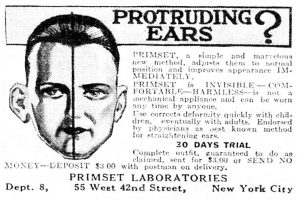 Primset Protruding Ears Ad, True Detective Mysteries, May 1930, page 85.