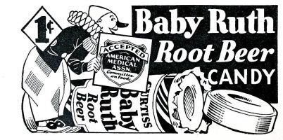 Curtiss Baby Ruth Root Beer Candy Ad, Film Fun, December 1933, page 5.