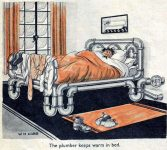 The plumber keeps warm in bed. The comic appeared on page 19 of the December 8, 1934 issue of The Passing Show.