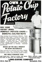 Own a Potato Chip Factory, Long Eakins Company, Popular Mechanics, June 1935, page 151A.