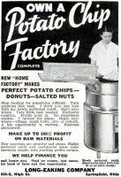 Own a Potato Chip Factory, Long Eakins Company, Popular Mechanics, June 1935, page 151A.