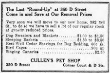 Cullens Pet Shop November 16, 1935