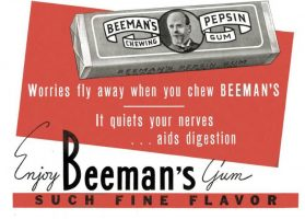 Beeman's Pepsin Chewing Gum Ad, Cosmopolitan, August 1936, page 117.