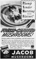 Jacob Fresh-Canned Mushrooms, St. Louis Post-Dispatch, October 24, 1937, page 95.