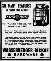 Speed Queen Washing Machine ad 1939