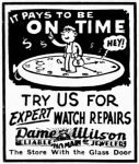 Dame Wilson Watch Repair Ad, Richmond Indiana Palladium-Item, June 13, 1947, page 10.