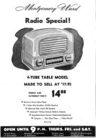 Montgomery Ward Airline Radio advertisement from the March 12, 1948 issue of the Detroit Free Press.