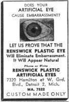 Renswick Artificial Plastic Eyes advertisement.