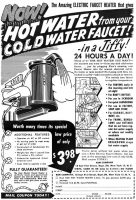 Kem Electric Faucet Hot Water Heater Ad, Detective Book Magazine, Summer 1949, page 115.