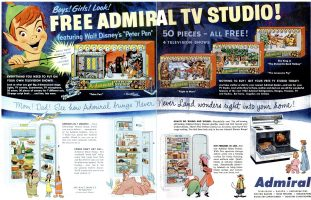 Walt Disney Peter Pan Admiral TV Ad, Life, April 27, 1953, pages 58-59.